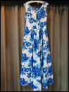 White Sleeveless Vintage Dress with Blue Floral Print  (#2) SWATCH