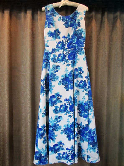 White Sleeveless Vintage Dress with Blue Floral Print  (#2) MAIN