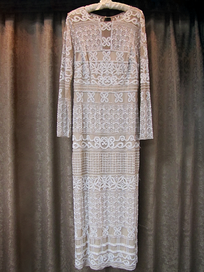 Tan and White Beaded Dress by Adrianna Papell    (#4) MAIN