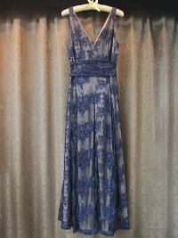 Navy Blue Lace Dress with Tan Underlining by Aidan Mattox    (#16) THUMBNAIL