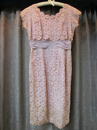 Salmon Pink Vintage 1950s Lace Floral Dress  (#17) THUMBNAIL