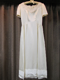 Cream-Colored Vintage 1950s Satin Dress with Lace Collar  (#18) THUMBNAIL