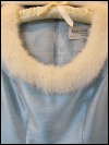 Light Blue Vintage 1960s Dress with Fur Collar by Faye Renee  (#20) SWATCH