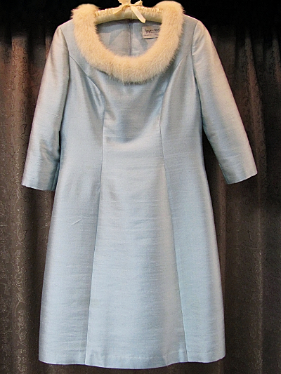 Light Blue Vintage 1960s Dress with Fur Collar by Faye Renee  (#20) MAIN