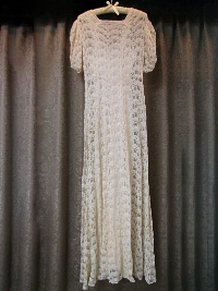 1940s Cream-Colored Vintage Lace Dress with Slip  (#8) THUMBNAIL