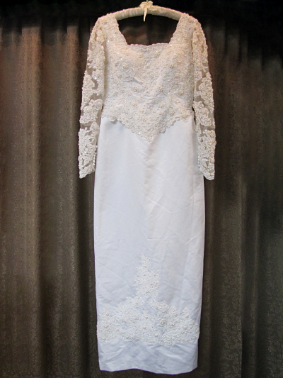 White and Cream-Colored Wedding Dress by PC Mary's   (#10) MAIN