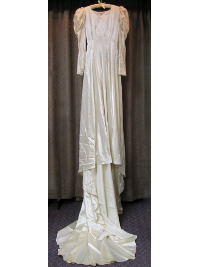 Cream-Colored 1940s Vintage Wedding Dress with Long Train by The Debutante (#5) THUMBNAIL