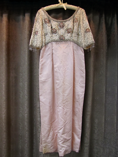 Pink and Cream-Colored Vintage 1960s Beaded Dress     (#7) MAIN