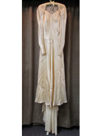 Cream-Colored Vintage 1930s/40s Wedding Gown with Lace Back  (#12) THUMBNAIL