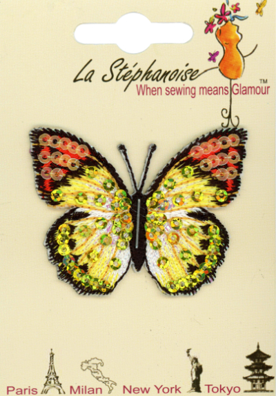 Butterfly Appliqué by La Stéphanoise - # 15338 col. 009 - Yellow and Orange MAIN