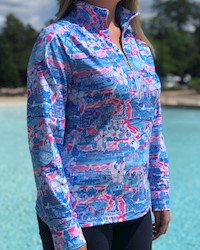Ladies' Charlie 1/2 Zip Pink Pullover by Kaeli Smith THUMBNAIL