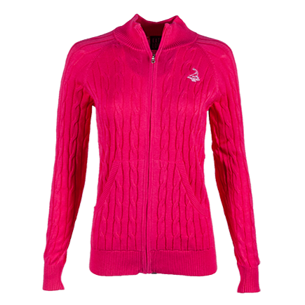 Ladies' Full Zip Northridge Sweater - Hot Pink