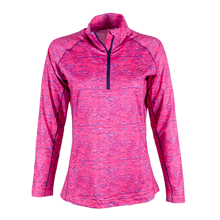 Ladies' Space Dye Half Zip Pullover - Dahlia