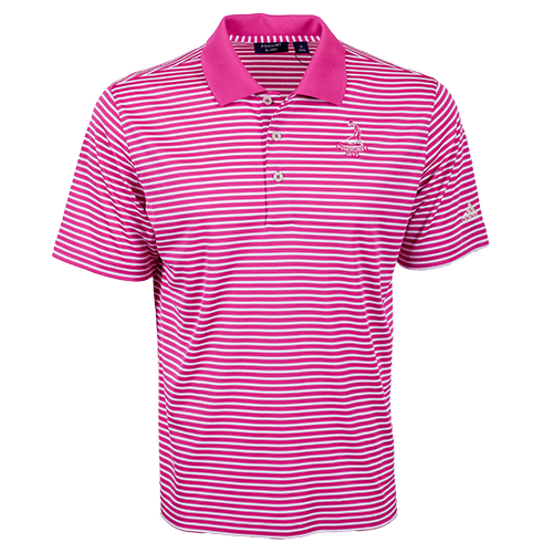 Pinehurst Private Label Stripe Polo - Bahia Magenta