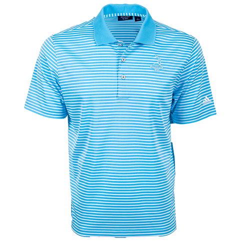 Pinehurst Private Label Stripe Polo - Bright Cyan