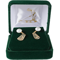 Gold Putter Boy Jacket Earrings (with pearls)