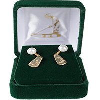Gold Putter Boy Jacket Earrings (with pearls) Mini-Thumbnail