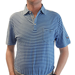 Men's Peter Millar Cradle Stripe Indigo Wash Polo_MAIN