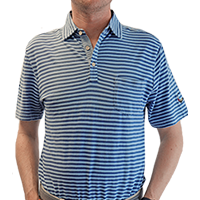 Men's Peter Millar Cradle Stripe Indigo Wash Polo THUMBNAIL
