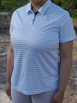 Pinehurst/Adidas Private Label- Ladies' Double-Stripe Polo (White/Mystery Blue) LARGE