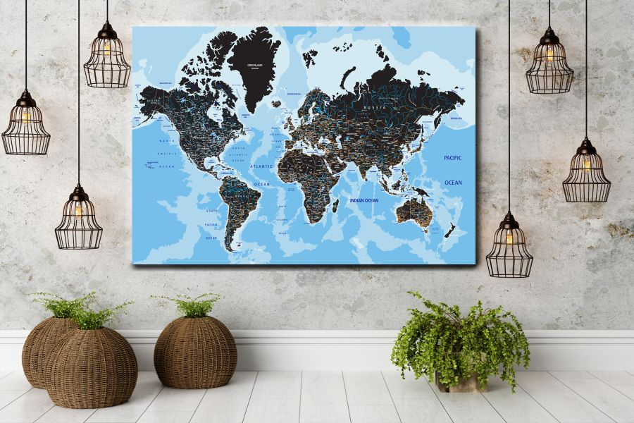 HD Metal Art, Indoor/Outdoor Wall Decor,  Pixolate, Subtint Maps, World Maps, Countries 48501 200 THUMBNAIL