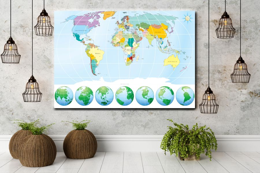 HD Metal Art, Indoor/Outdoor Wall Decor,  Pixolate, Subtint Maps, World Maps, Countries 48505 200 THUMBNAIL