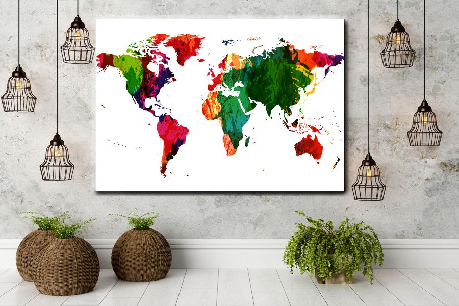 HD Metal Art, Indoor/Outdoor Wall Decor,  Pixolate, Subtint Maps, World Maps, Countries 48632 200 THUMBNAIL