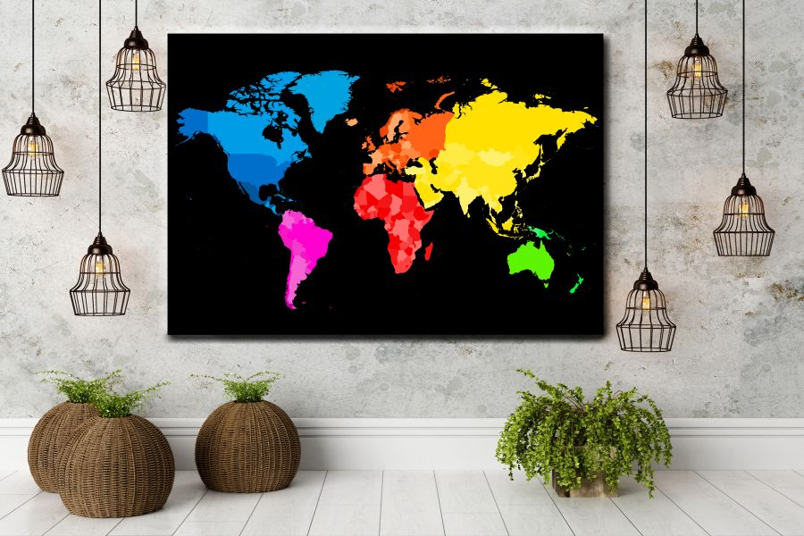 HD Metal Art, Indoor/Outdoor Wall Decor,  Pixolate, Subtint Maps, World Maps, Countries 48638 200 THUMBNAIL
