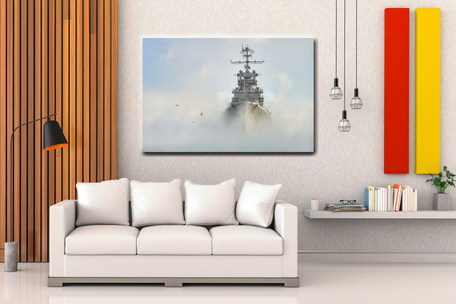 Canvas Art Wall Decor, PATRIOTIC, MILITARY , FLAGS, BATTLE SHIPS 60000 LARGE