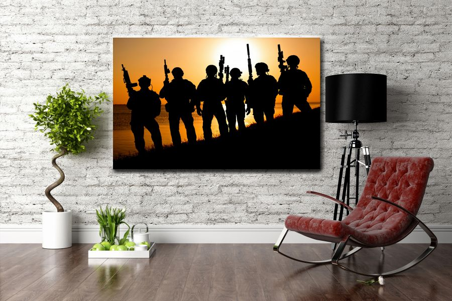 Canvas Art Wall Decor, PATRIOTIC, MILITARY , FLAGS, BATTLE SHIPS 60002 THUMBNAIL