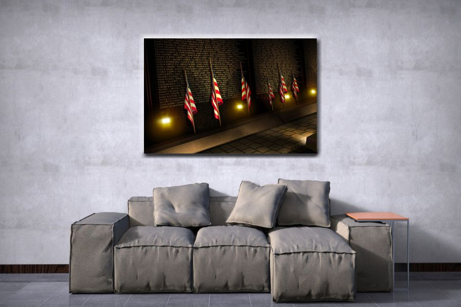 Canvas Art Wall Decor, PATRIOTIC, MILITARY , FLAGS, BATTLE SHIPS 60020 LARGE