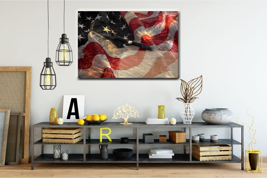 Canvas Art Wall Decor, PATRIOTIC, MILITARY , FLAGS, BATTLE SHIPS 60027 THUMBNAIL