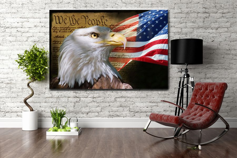 Canvas Art Wall Decor, PATRIOTIC, MILITARY , FLAGS, BATTLE SHIPS 60031 LARGE