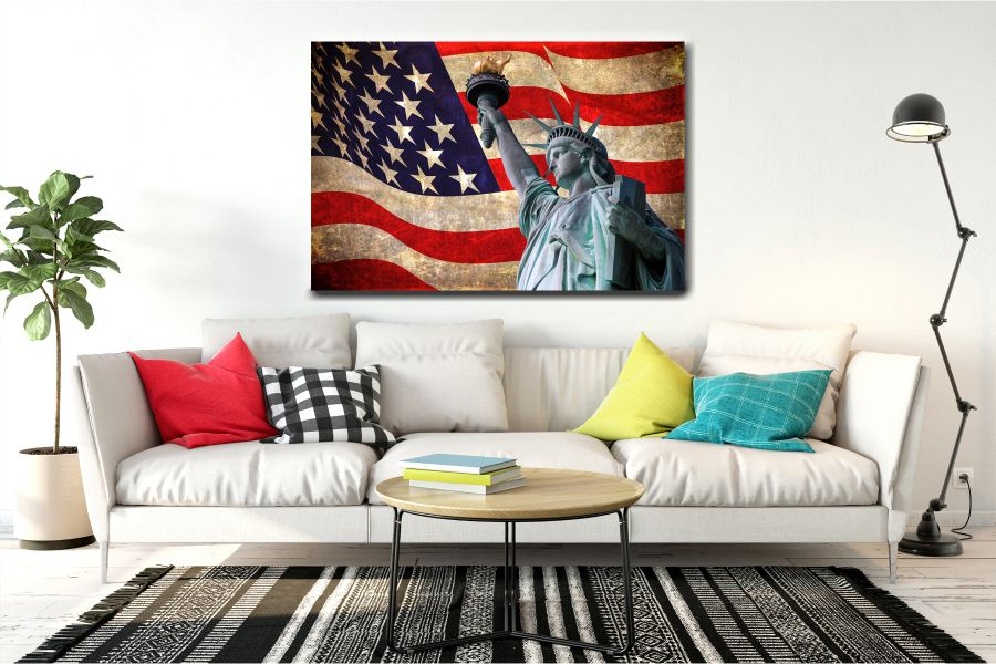 Canvas Art Wall Decor, PATRIOTIC, MILITARY , FLAGS, BATTLE SHIPS 60039 THUMBNAIL