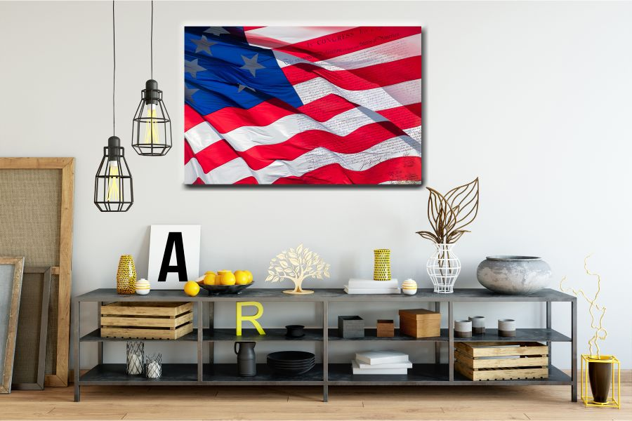 Canvas Art Wall Decor, PATRIOTIC, MILITARY , FLAGS, BATTLE SHIPS 60040 LARGE