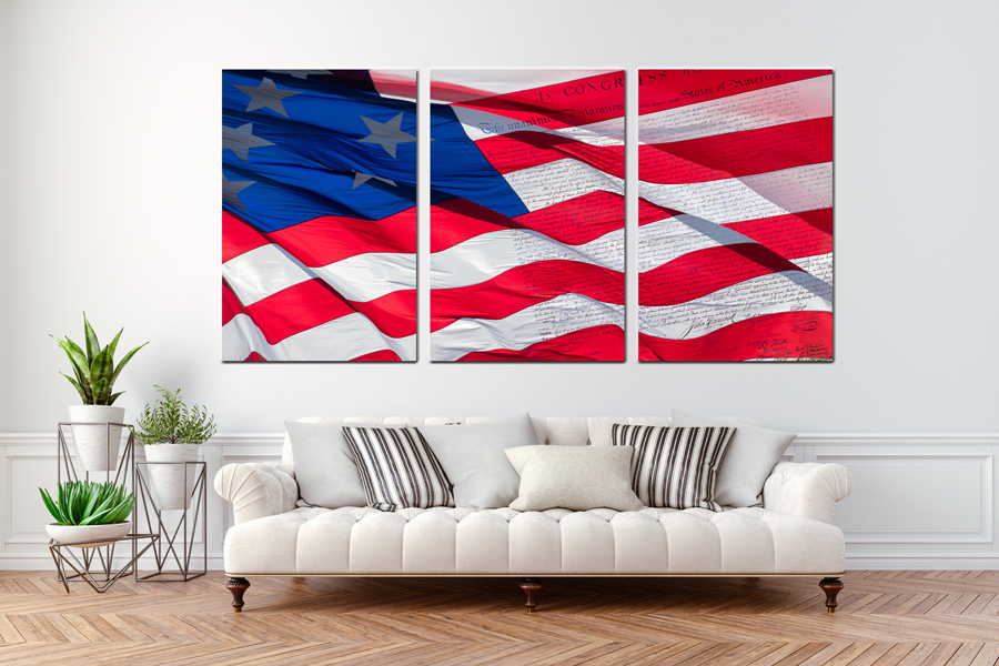 Canvas Art Wall Decor, CANVAS ART CANVAS  PATRIOTIC 60040 110 03 ( SET OF 3 ) THUMBNAIL