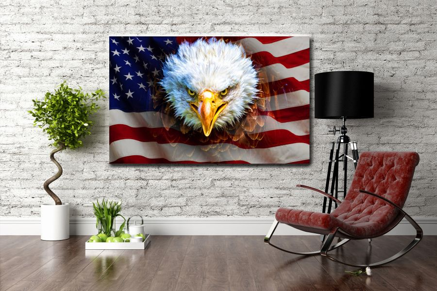 Canvas Art Wall Decor, PATRIOTIC, MILITARY , FLAGS, BATTLE SHIPS 60041 LARGE
