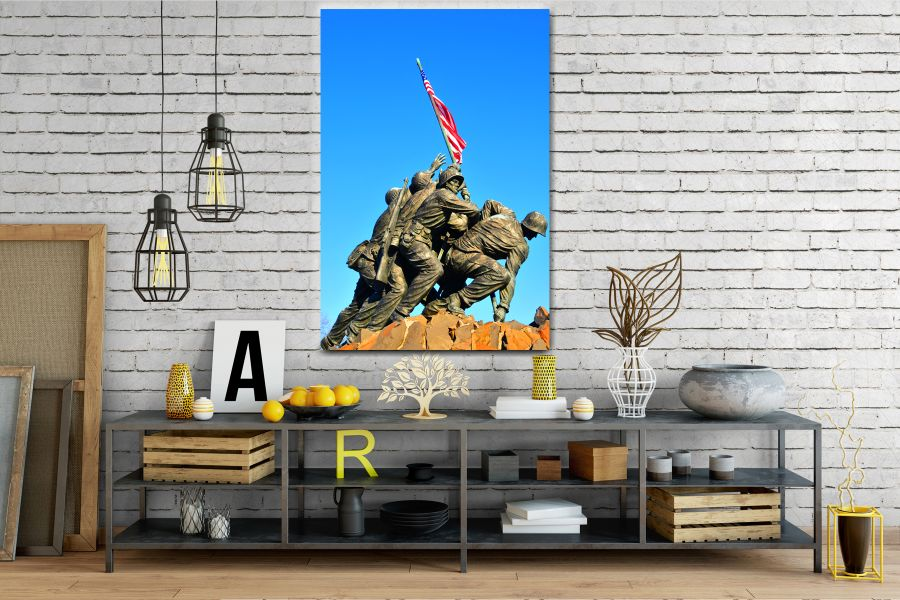 Canvas Art Wall Decor, PATRIOTIC, MILITARY , FLAGS, BATTLE SHIPS 60042 LARGE