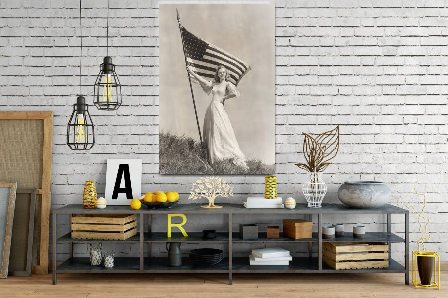 Canvas Art Wall Decor, PATRIOTIC, MILITARY , FLAGS, BATTLE SHIPS 60043 THUMBNAIL
