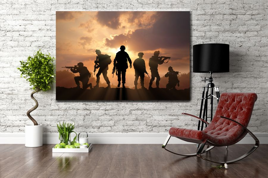 Canvas Art Wall Decor, PATRIOTIC, MILITARY , FLAGS, BATTLE SHIPS 60050 LARGE