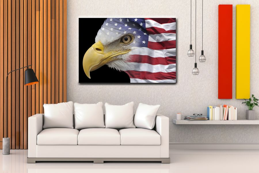 Canvas Art Wall Decor, PATRIOTIC, MILITARY , FLAGS, BATTLE SHIPS 60063 THUMBNAIL