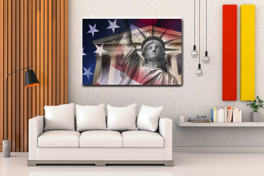 Canvas Art Wall Decor, PATRIOTIC, MILITARY , FLAGS, BATTLE SHIPS 60064 LARGE