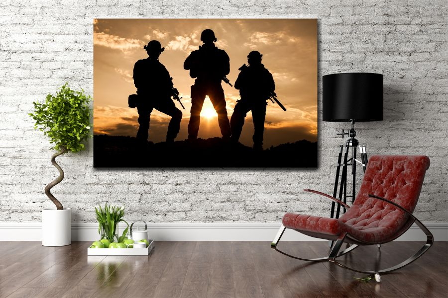 Canvas Art Wall Decor, PATRIOTIC, MILITARY , FLAGS, BATTLE SHIPS 60065 LARGE