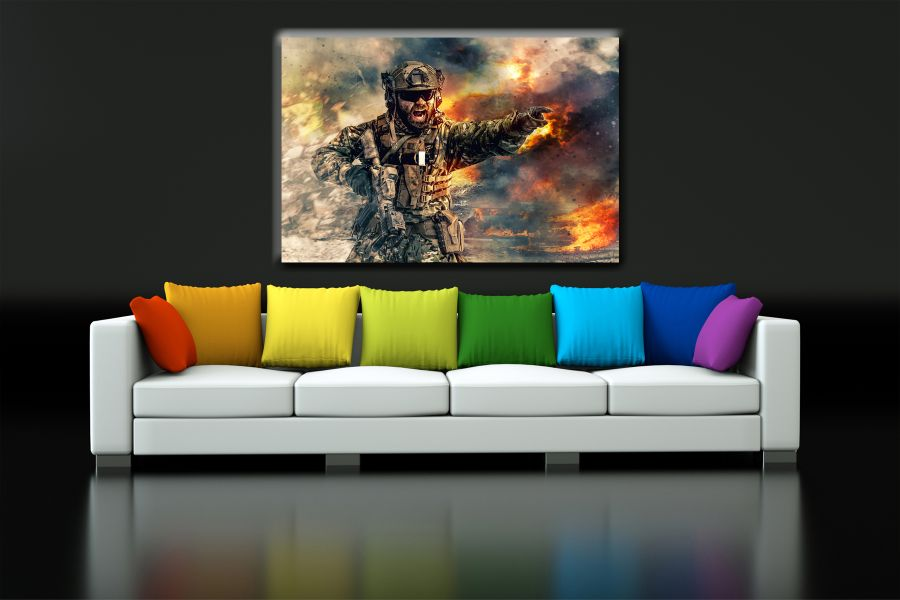 Canvas Art Wall Decor, PATRIOTIC, MILITARY , FLAGS, BATTLE SHIPS 60066 THUMBNAIL