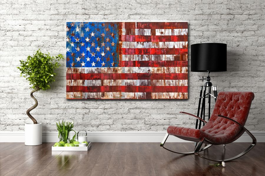 Canvas Art Wall Decor, PATRIOTIC, MILITARY , FLAGS, BATTLE SHIPS 60068 THUMBNAIL