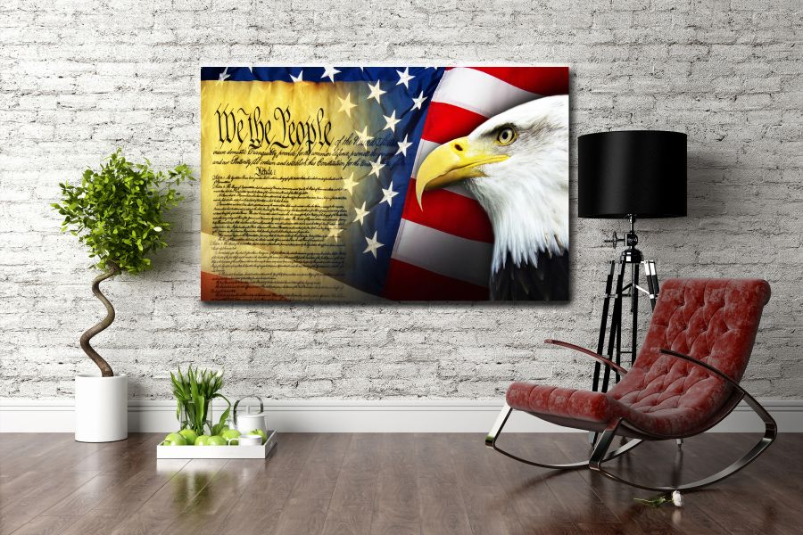 Canvas Art Wall Decor, PATRIOTIC, MILITARY , FLAGS, BATTLE SHIPS 60097 LARGE