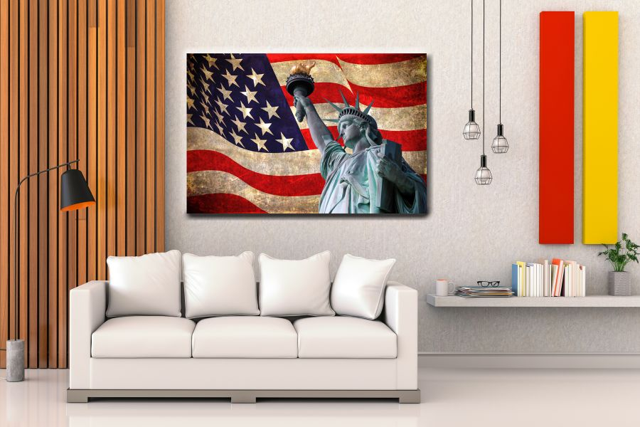 Canvas Art Wall Decor, PATRIOTIC, MILITARY , FLAGS, BATTLE SHIPS 60100 LARGE