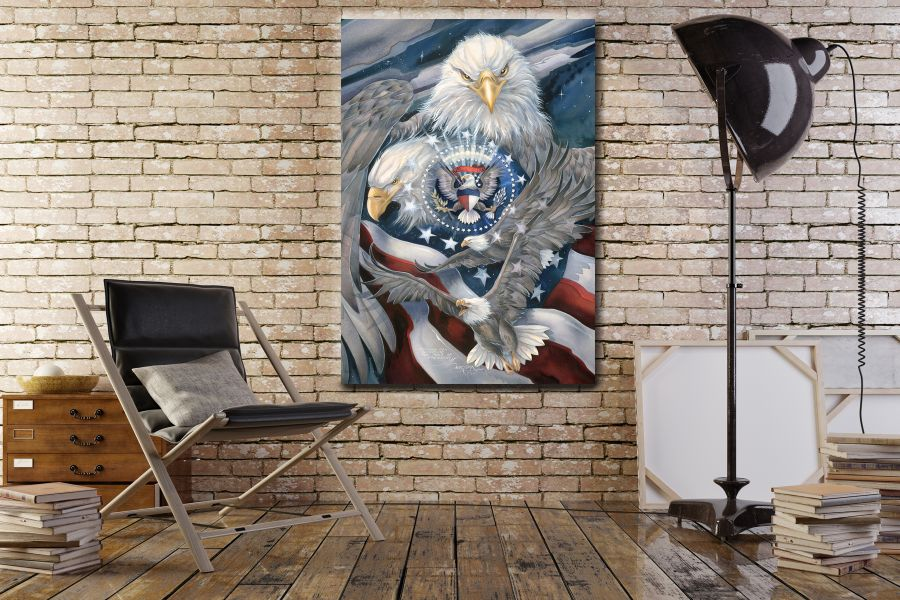 Canvas Art Wall Decor, PATRIOTIC, MILITARY , FLAGS, BATTLE SHIPS 60101 LARGE