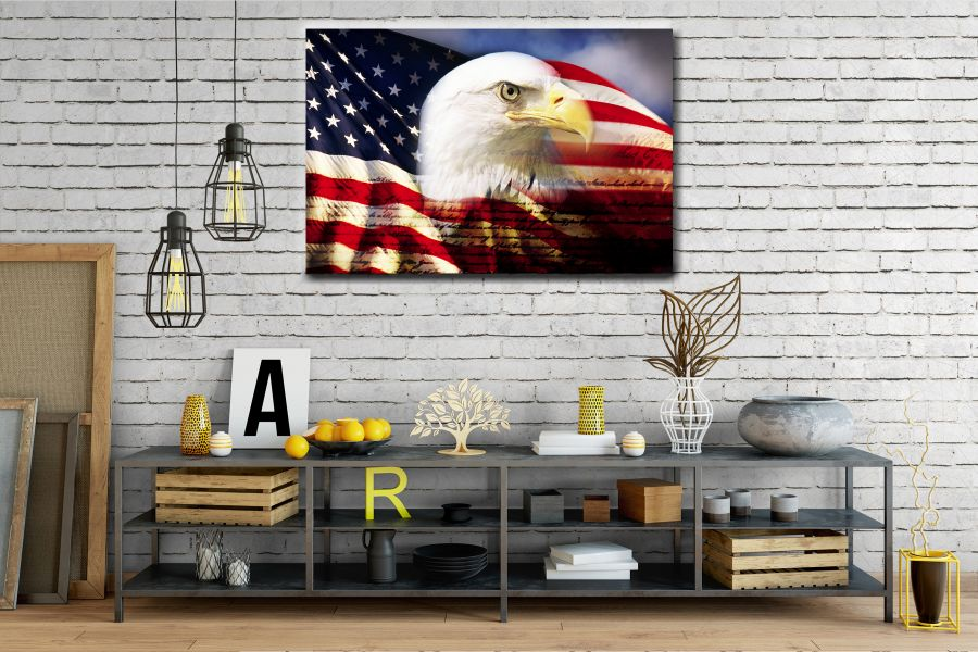 Canvas Art Wall Decor, PATRIOTIC, MILITARY , FLAGS, BATTLE SHIPS 60107 LARGE