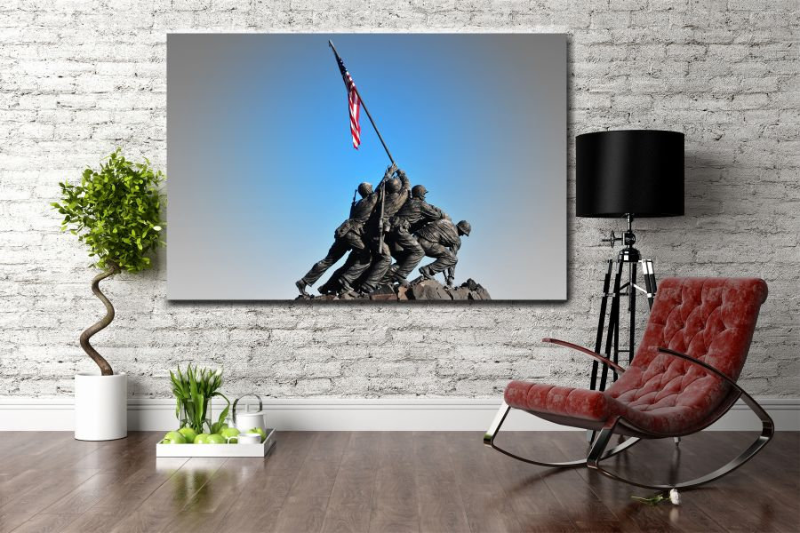 Canvas Art Wall Decor, PATRIOTIC, MILITARY , FLAGS, BATTLE SHIPS 60108 LARGE